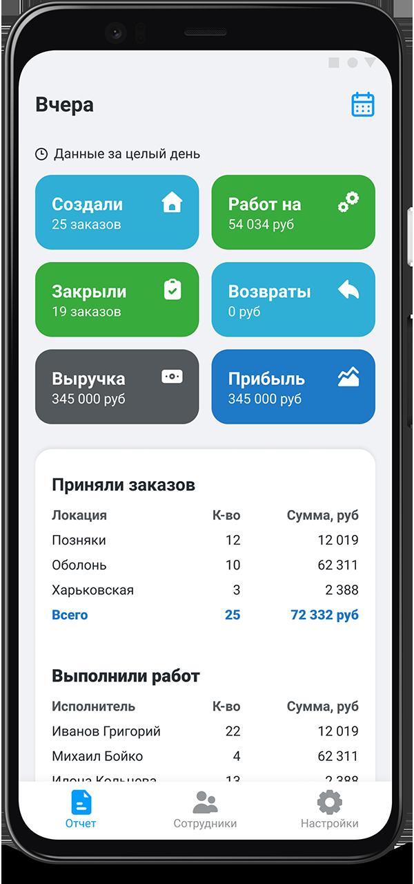 Отчет в мобильном приложении